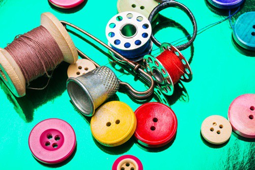 Set for creativity and sewing, threads and buttons